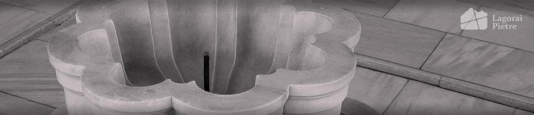 Fornitura di monumenti, vasche e fontane in marmo o pietra
